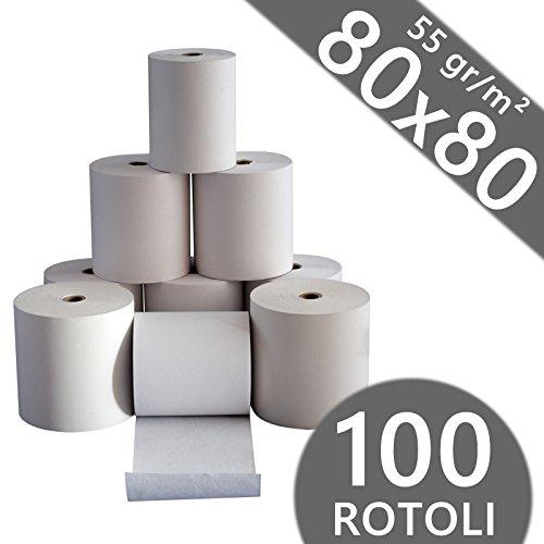 Confezione 100 Rotoli Termici mm 80x80 mt 55 gr. mq Omologati per Registratore di Cassa Carta Termica 1^ Qualità