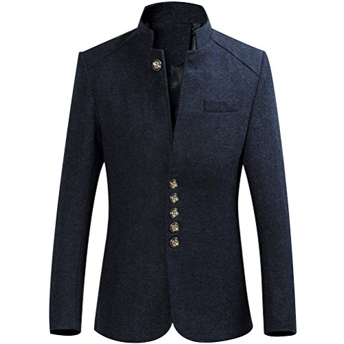 Zhhlaixing doux Mens High Quality Gentleman Classical Single Breasted Blazer Outerwear Dark Blue