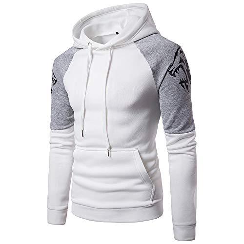 Aiserkly Noos Kapuzenpullover Kapuzenjacke Herren Langarm Slim Fit Hoodies T-Shirt Herbst Winter Trainingsanzug Jogginganzug Sportanzug Weiß L