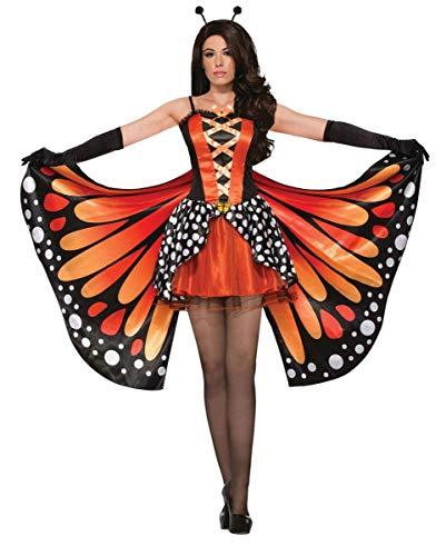 Monarch Schmetterling Kostüm Flügel - Horror-Shop Schwarz/Oranges Monarch Schmetterling Kostüm mit