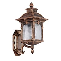 FABAX Wall Light European Retro Outdoor Wall Lamp,grid Striped Glass Lampshade,waterproof Aisle Corridor Garden Garden Aluminum Wall Light Led Wall Lamp (Color : B-ancient copper, Size : 15.8x9