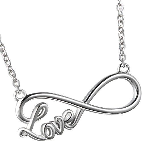 Oidea–collana da donna con ciondolo, acciaio inossidabile love infinity infinito simbolo ciondolo con catena collare, argento
