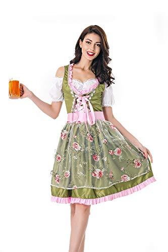 Simmia Halloween Kostüm,Halloween-kostüm Adult Female Deutsch Bier Festival kostüm Cosplay Maid Maid uniform bühnenkostüm, grün, XL