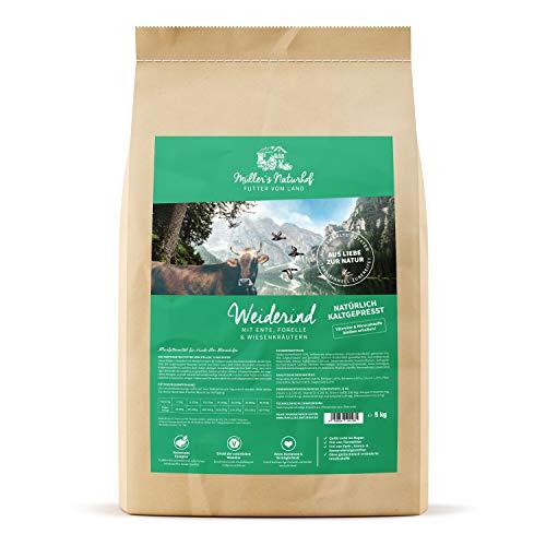 Weiderind | 5 kg | Ente & Forelle | Gartengemüse & Wiesenkräuter | Natürlich kaltgepresst | Trockenfutter für alle Hunderassen | Traditionell hergestellt ()