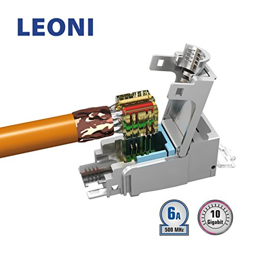 LEONI MegaLine Connect45 RJ 45 Keystone Modul Cat 6A ISO IEC, mit Wirmanger AWG 24-22 (nur mit Montagezange) ; deutsche Montageanleitung (24 Stück) -