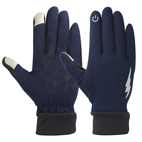 Sport Radfahren Handschuhe - Unisex Touch Screen Winter warme thermische Handschuhe im Freien Radfahren Handschuhe Anti Slip Laufen kaltes Wetter Driving Bike Handschuhe für Männer und Frauen (Blau, L)