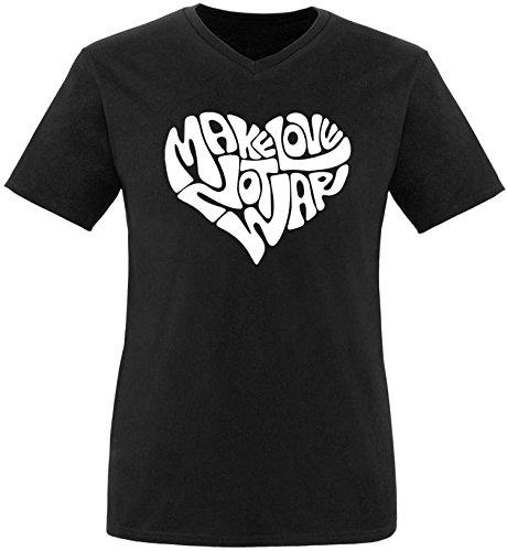 EZYshirt® Make love not war Herren V-Neck T-Shirt Schwarz/Weiss