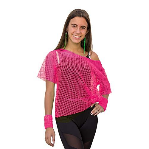 Oblique Unique® Netzshirt Netztop Netz Hemd Netzoberteil Fischnetz für Damen Frauen Oberteil 80s 80er Jahre Kostüm Motto Party Größe 38 - 42 Neon Grün Pink - Farbe wählbar (Neonpink)