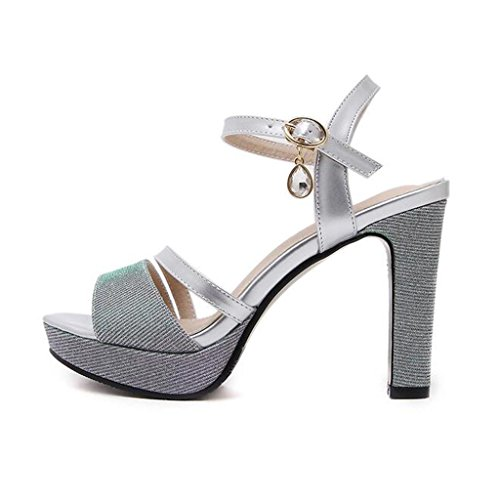 W&LM Signorina Tacchi alti sandali Tacchi alti Ruvido pacchetto Bocca poco profonda Piede punta Fibbia sandali Silver