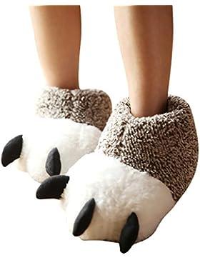 Butterme Unisex Polar Bear Paw Pantofole Inverno Caldo Stivali Peluche Casa Scarpe Furry Animal Paw House Pantofole...