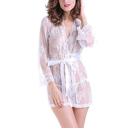 Transparente Kleid - Damen Dessous Kimono Spitze Weiter Ärmel Transparente Kleid Gown Kurz Babydoll Robe Mesh mit Gürtel und G-String Bikini Cover Up Spitze Sommer (Gürtel Bat)