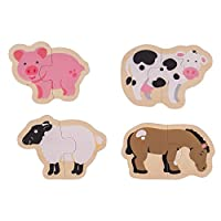 Bigjigs Toys Wooden Two Piece Puzzles - Farm Animals