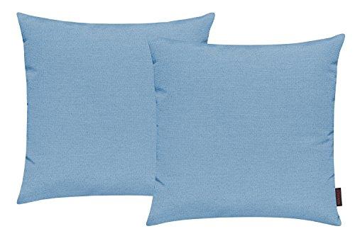 Fino Kissenhülle ca. 50 x 50 cm hochwertig & knitterarm Farbe 32 Türkis (2er Set) (Kissenbezug 32)