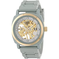 TKO ORLOGI Women's TK626GY Milano Grey Rubber Mechanical Movement Skeleton Watch