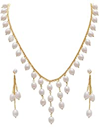 Classique Designer Silver Alloy With Gold Plated Oval Pearl Necklace Set For Women(CP227)