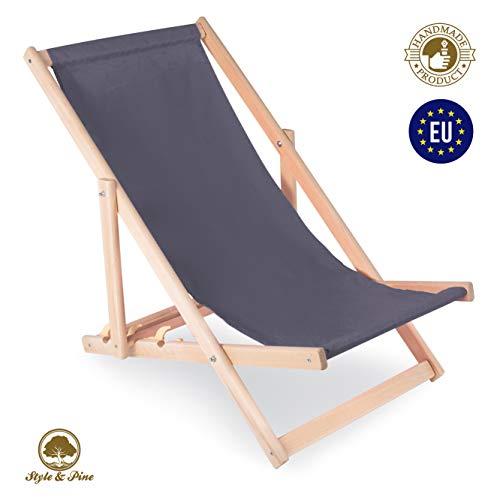 Amazinggirl Liegestuhl klappbar aus Holz Liege - Relaxliege für Garten Balkon Gartenliege Strandstuhl Liegen Gartenmöbel (1 Stück, Grau)