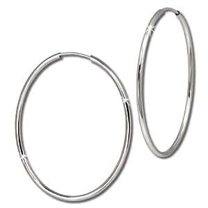 SilberDream Boucles d'oreilles - boucles d'oreilles créole ovale 40mm - Argent Sterling 925/1000 pour Femme - SDO092