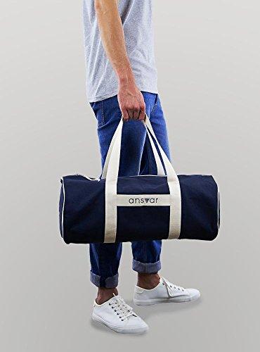 Sporttasche ansvar III aus Bio Baumwoll Canvas - Hochwertige Damen & Herren Sporttasche, Duffle Bag aus 100% nachhaltigen Materialien - mit GOTS & Fairtrade Zertifizierung, Farbe:blau - 2