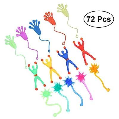 TOYMYTOY 72 Pcs Niños Niños Stretchy Sticky Toy Set Incluyendo 24 manos pegajosas 24 Wall Climber hombres 24 martillos pegajosos de TOYMYTOY