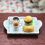 Honey MoMo Casa delle Bambole, Giocattoli in Miniatura,Mini Lovely Egg Hamburger Bread Coffee Plate Dollhouse Miniature Toy Decor