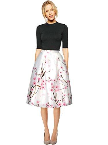 YR.Lover Frauen Mädchen Digital Print Stretchy Ausgestelltes Plissee beiläufiger Rock Größe 28-kleid-formale Kleid