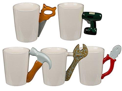 Haus und Deko Origineller Keramik-Becher Kaffeetasse Handwerker Tasse mit Werkzeug-Griff 5 Varianten 1