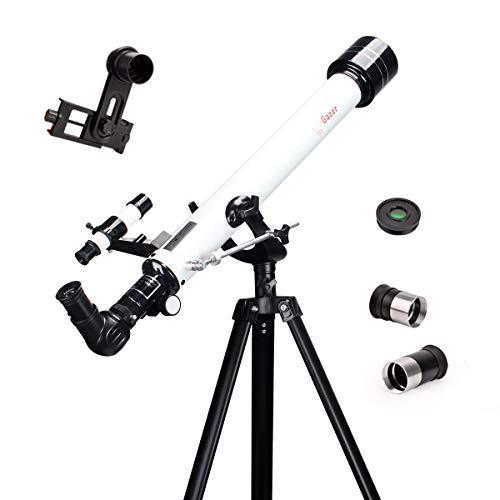 Moutec telescopio astronomico, 600/70mm Telescopio Refractor para Principiantes y Adultos con trípode Estable y Adaptador de teléfono, Dos oculares, Filtro de Luna