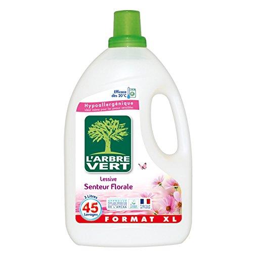 L'Arbre Vert Lessive Liquide Hypoallergénique et Ecologique Senteur Florale 45 Lavages 3 L