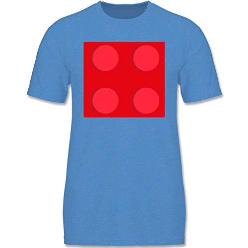 Karneval & Fasching Kinder - roter Stein 4-134-146 (9-11 Jahre) - Blau meliert - F140K - Jungen T-Shirt
