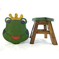 Thai Gifts Childrens Wooden Stool - Frog Prince Shaped