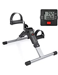 OGORI Pedal Exerciser Mini Folding Exercise Bike Indoor Fitness Arm and Leg with Digital Display