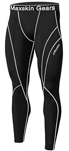 Nuovo uomo pelle calze a compressione Base strato sport corsa pantaloni lunghi MSP001 BLACK Large