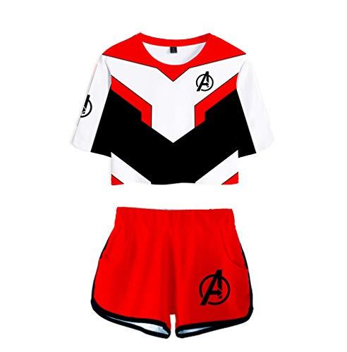 Memoryee Avengers Endgame Druck Crop Top T-Shirts und Kurze Hose Kleidung Zweiteiler Superheld Quantum Realm Cosplay Kostüm für Mädchen und Frauen Sportswear Suit 2 L (Der Frauen Superhelden-t-shirts)