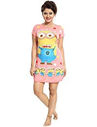 Tucute Girls / Women's Cotton Hosiery Short Cartoon Print Nighty / Nightwear / Nightdress (Large Size)