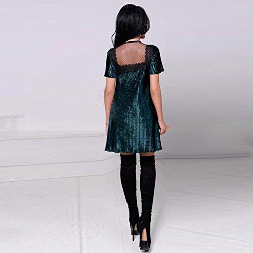 Donna O-Collo Pizzo Manica Corta Serata Partito Casual Loose Mini Dress Senza Maniche Estate Primavera Prom Costume Mode Elegante Pizzo Chiffon Poliestere Cotone Verde