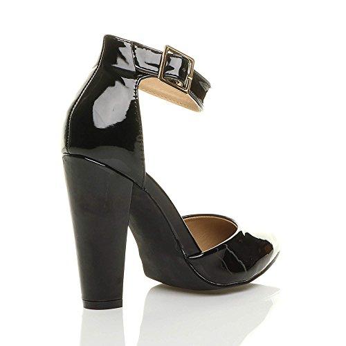 7851fc2ffd726 ... Ajvani Chaussures Pointure Lanière Femmes Noir Haute Large Escarpins  Pointu Verni Boucle Talon TqwT78r6 ...