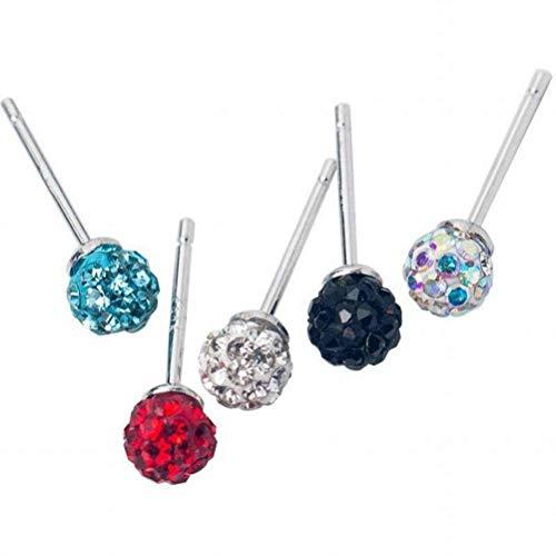 E-H Ohrring Dangler Eardrop Bolzenohrring S925 Silber Ohrringe Weiblichen Einfachen Vollen Diamanten Kugel Ohrringe Temperament Männer und Frauen Farbe Ohrringe für Frauen, Rot, Farbe (Männer Red Für Ohrringe Diamond)
