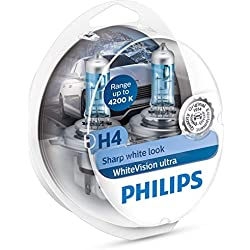 Philips 12342WVUSM WhiteVision Ultra Effet xénon H4 pour éclairage Avant, 4.200K, Blister de 2, Set de 2