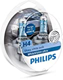 Philips 12342WVUSM WhiteVision Ultra Xenon-Effekt H4 Scheinwerferlampe, 4.200K, Doppelset, Set of 2