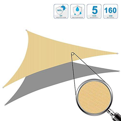 Galleria fotografica Cool Area Tenda a vela impermeabile triangolare 3 x 3 x 3 metri protezione raggi UV, Sabbia