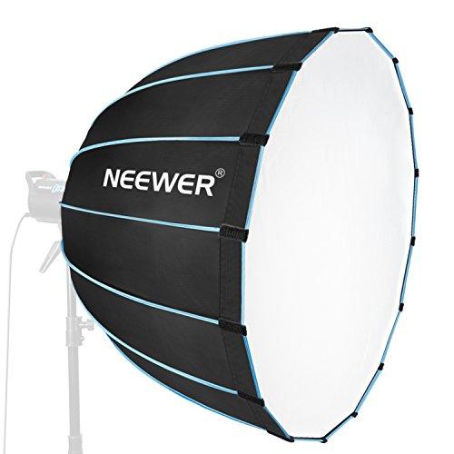 Neewer Sechzehneck Softbox 90 Zentimeter mit blauem Rand und Bowens Montage, tragbere und schnell-faltbare Softbox Diffusor für Fotografie Speedlites Flash Monolicht und mehr