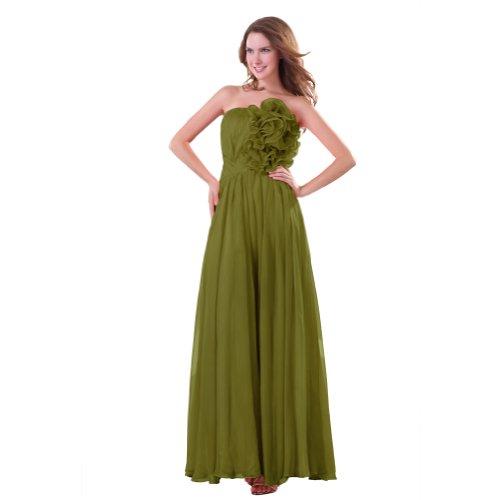 Sunvary Summer senza spalline in Chiffon A linea vestito da sera lungo Olive