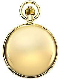 MORFONG Herren Damen Taschenuhr mit Kette Gold Antik Mechanische Handaufzug Skelett Römische Ziffern