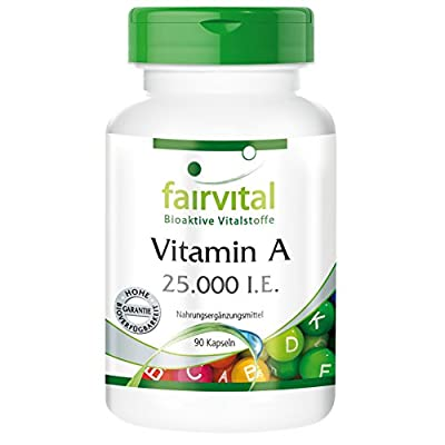 Fairvital - Vitamin A 25,000 IU - High-Dosage in Pure Form - For Anyone Needing Extra Vitamin A - 90 Capsules by fairvital