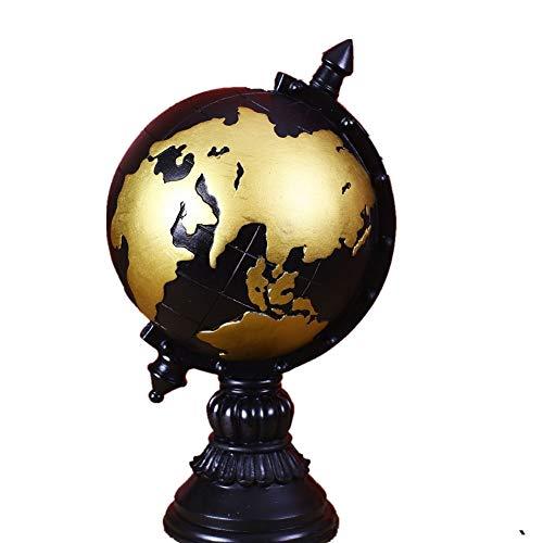 arz Ornamente Globus Sparschwein Dekorationen Harz Kunsthandwerk Dekorationen Erde Retro Alte Kunsthandwerk für Heimschuldekoration Kinder ( Farbe : Schwarz , Größe : Free size ) ()