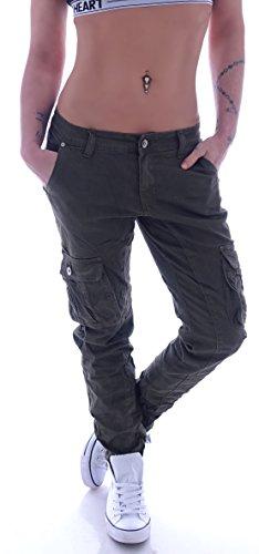 Damen Boyfriend Jeans Cargohose Cargo Hose Baggy Haremshose Chino XS 34 S 36 M 38 L 40 XL 42 (S 36, Khaki)
