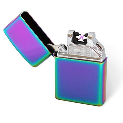Ookami Briquet Double Arc Électrique USB Rechargeable par USB Qualité Premium avec Câble d'alimentation (Multicolore)