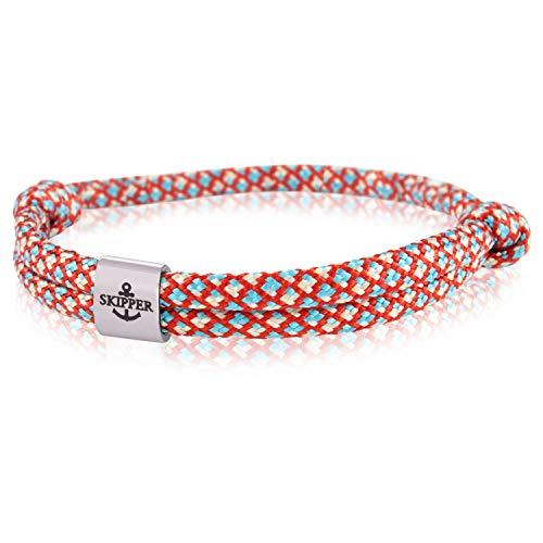 Skipper Surfer Armband mit Edelstahl Charm für Damen und Herren - Rot Blau Weiß 7858 (Weiß Und Rot, Armbänder Blau)