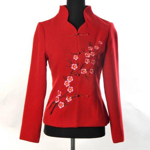 ntalisch Chinesisch Asiatisch Damen Traditionell Stickerei Elegant Blume Jacke Blazer Mantel Tang Anzug Rot Größe: 34, 36, 38, 40, 42 (Kostüme In Nyc)