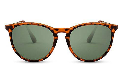 Cheapass Sonnenbrille Braun Runde Gläser Leo Vintage Damen Herren